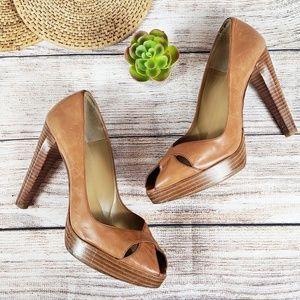 Stuart Weitzman Caramel Leather Heel Pump Size 9.5